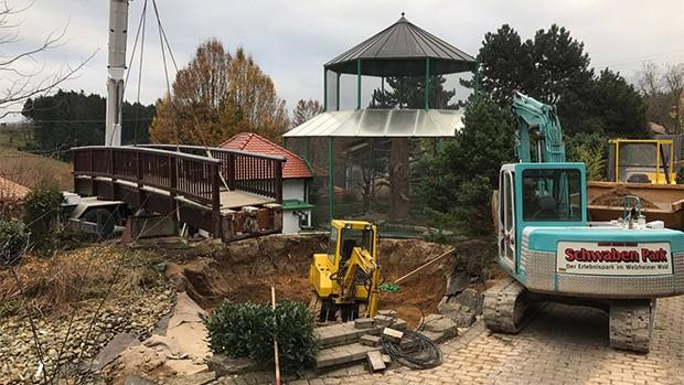 Schwaben-Park Teich Baustelle