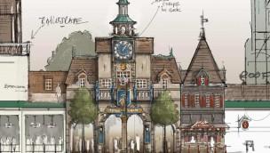 Europa-Park Rathaus Project V Fassade Konzeptzeichnung