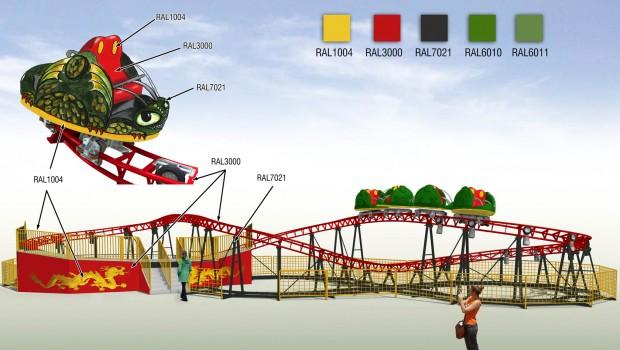 Freizeitpark Plohn Drachenwirbel Achterbahn 2017 Design