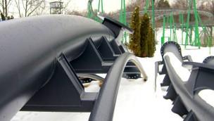 Schienen des Lech Coaster in Śląskie Wesołe Miasteczko