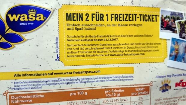 Wasa Gutschein Freizeitpark-Ticket 2017