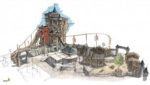 Achterbahn Schloss Dankern - Konzeptgrafik - Mittelalter-Dorf