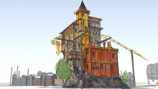 Achterbahn Schloss Dankern - Konzeptgrafik - Turm
