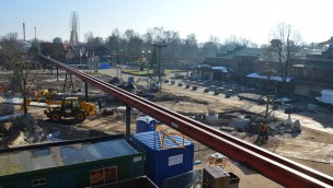 """Gold Rush""-Baustelle im Blick: Slagharens neuer Triple-Launch-Coaster beginnt zu wachsen"