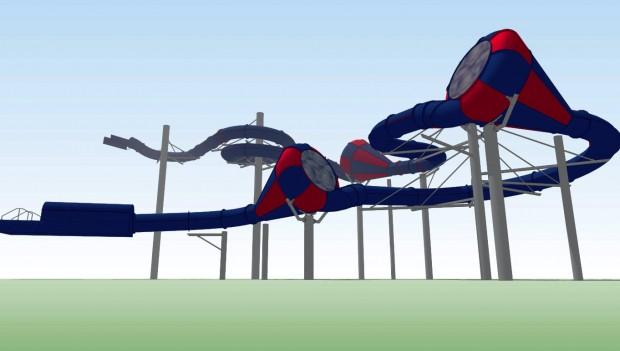 Duinrell Tikibad Cone-Wasserrutsche Konzeptgrafik