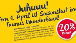 Taunus Wunderland startet mit Rabatt-Angebot in die Saison 2017: 20 Prozent beim Kauf von Tagestickets oder Jahreskarten sparen