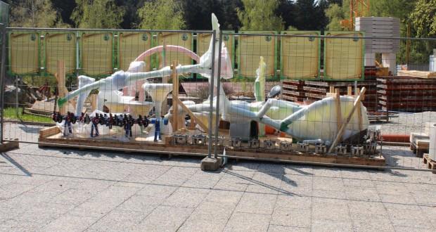 """Baustelle von """"Pirateninsel"""" im Bayern-Park 2017"""