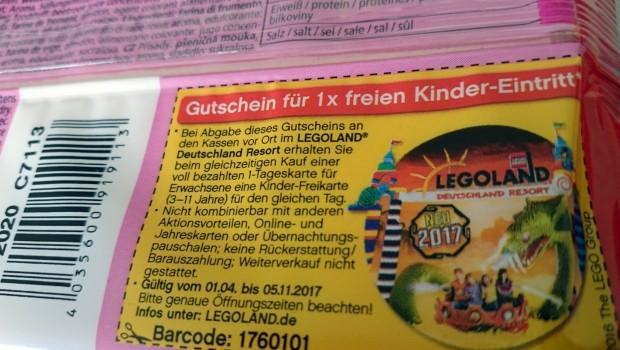 LEGOLAND Deutschland Freikarte Kinder 2017 Knabbi Esspapier