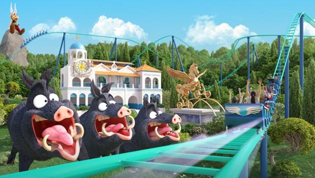 Parc Astérix - Pégase Express Artwork Wildschweine