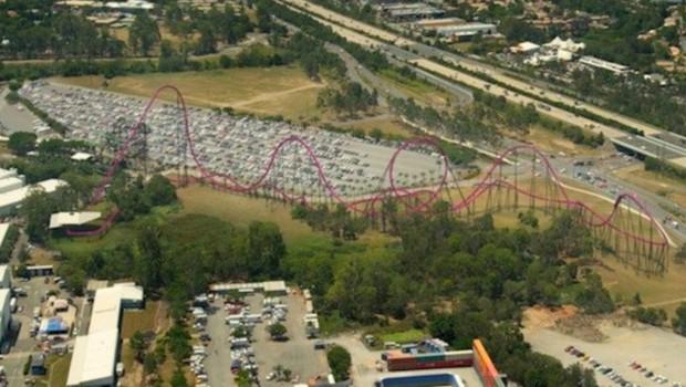DC Achterbahn Warner Bros Australia Luftaufnahme Rendering