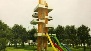 Parc d'Olhain Rohrturm mit Rutschen und Seilbahn