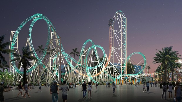 Knott's Berry Farm Achterbahn 2018 Hangtime Dive Coaster Artwork Nacht