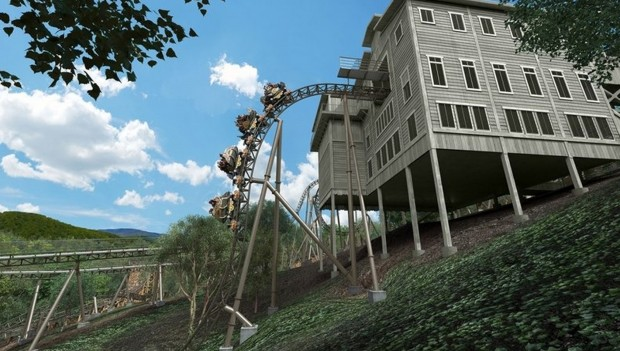 Silver Dollar City Time Traveler First Drop Rendering
