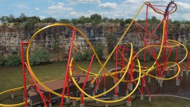 Six Flags Fiesta Texas Achterbahn Raptor Track Wonder Woman Golden Lasso Artwork