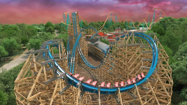 Six Flags Over Georgia Twisted Cyclone Cobra Roll Rendering
