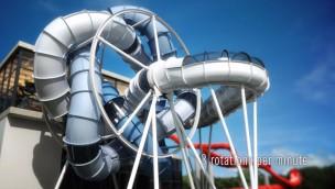 Weltweit erstes SlideWheel entsteht in China: Drehende Wasserrutsche ist eine Erfindung aus Deutschland