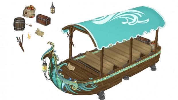 """Artwork von Boot von """"Merlin's Quest""""."""