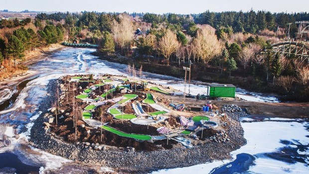 Faarup Sommerland Minigolf Insel Baustelle