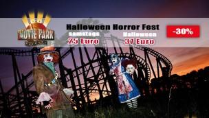 Halloween Horror Fest-Tickets für 2017 günstiger: 16 € Rabatt für Halloween im Movie Park sichern!