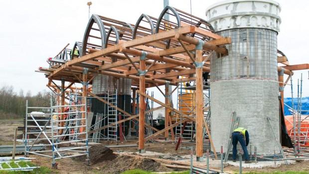 Bauarbeiten für den neuen Eingang im Toverland