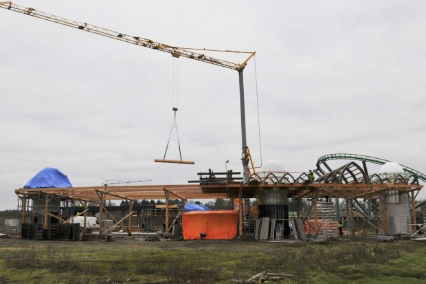 Bauarbeiten am neuen Eingang im Toverland