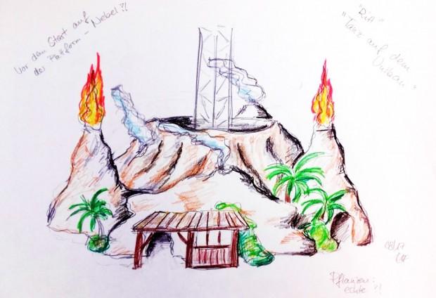 Freizeit-Land Geiselwind Vulkan Free Fall Tower Konzept