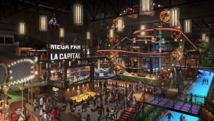 Méga Parc: Cloud Coaster durchfährt Riesenrad
