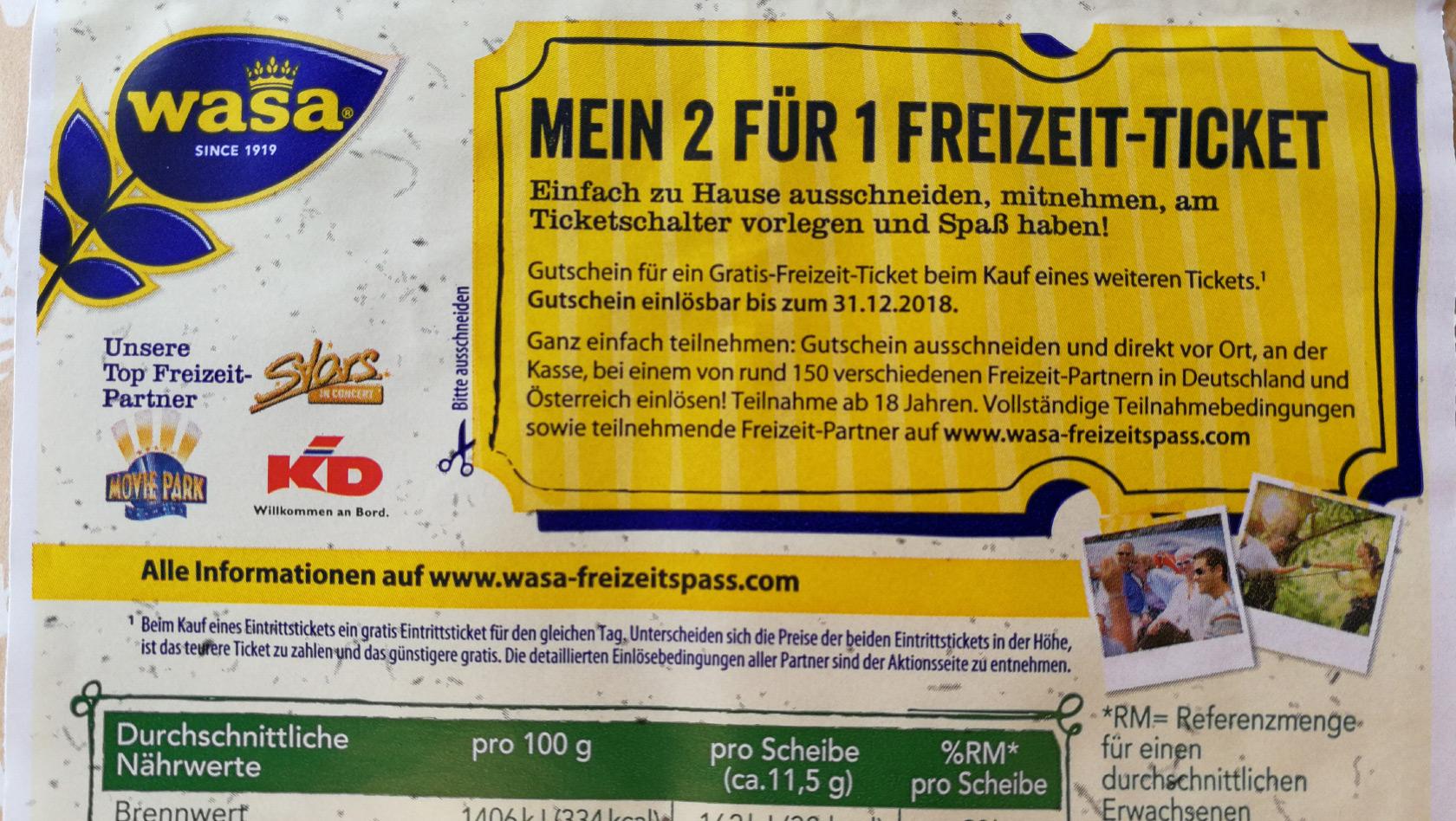 376e9b3a8c172f Wasa Freizeitspaß 2019  Gutscheine für Freizeitparks   Co ...
