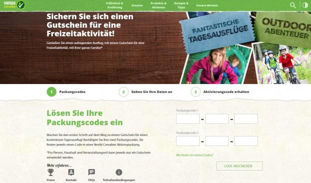 Nestle Code eingeben online 2018