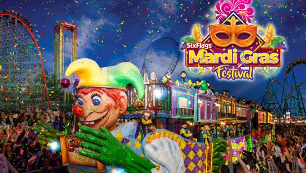Six Flags Great America Mardi Gras Festival 2018 Artwork