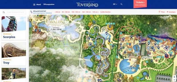 Toverland Parkplan 2018 Internetseite
