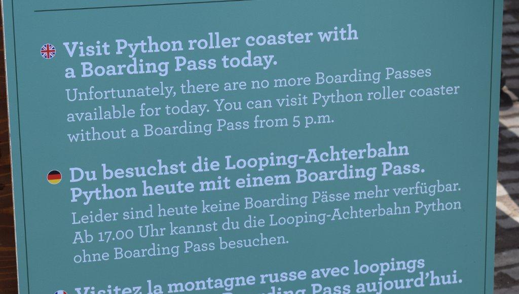 Efteling Python Boarding Pass