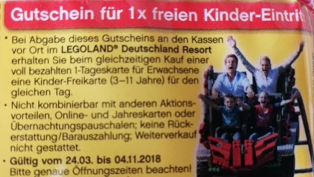 Gutschein LEGOLAND Deutschland freier Kinder-Eintritt mit Knabbi 2018