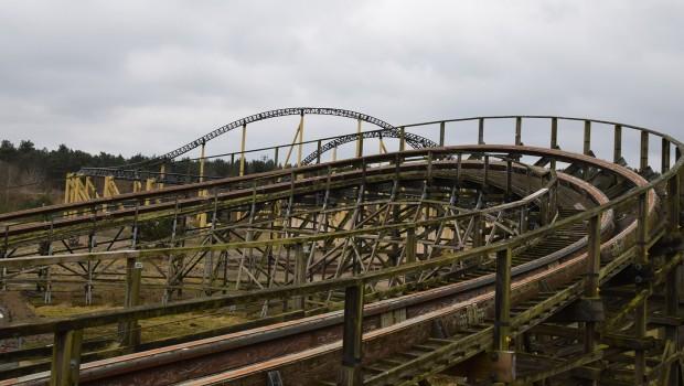 Heide Park Colossos geschlossen Schienen Zustand