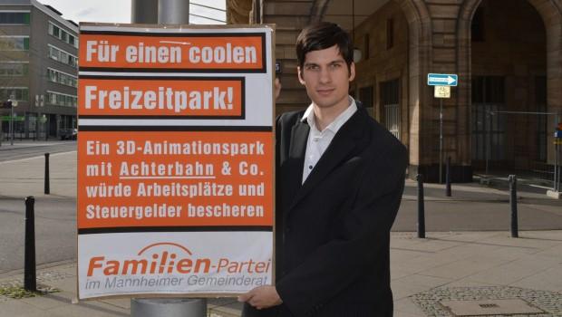 Kampagne für Freizeitpark in Mannheim 2018 mit Julian Ferrat von der Familien-Partei
