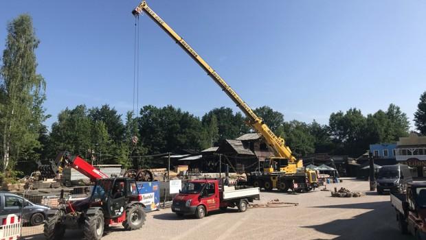 Freizeitpark Plohn Dynamite Baustelle Juni 2018 - Kran