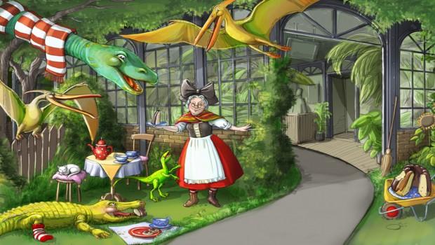Madame Freudenreich Curiosites Artwork - Dinosaurier im Garten