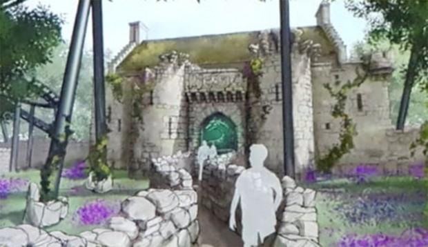 """Durch ein imposantes Burgtor werden Fahrgäste zum Einstieg von """"Nessie"""" gelangen. (Foto: Hansa-Park)"""
