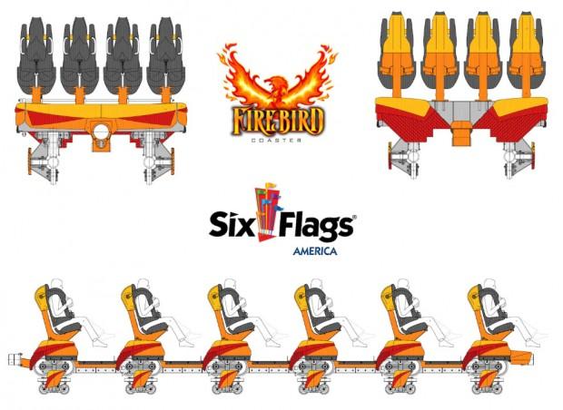 Six Flags America Firebird Floorless Coaster Sitze