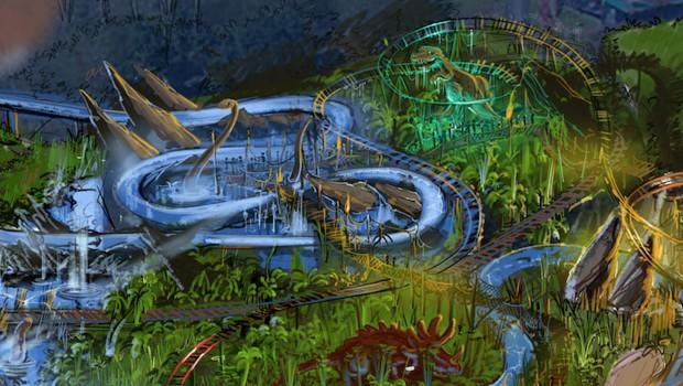 Plopsaland De Panne 2019 Dinosaurier Themen Wildwasserbahn Artwork