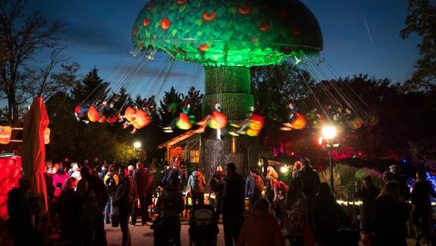 Familypark am Neusiedlersee Kettenkarussell bei Nacht