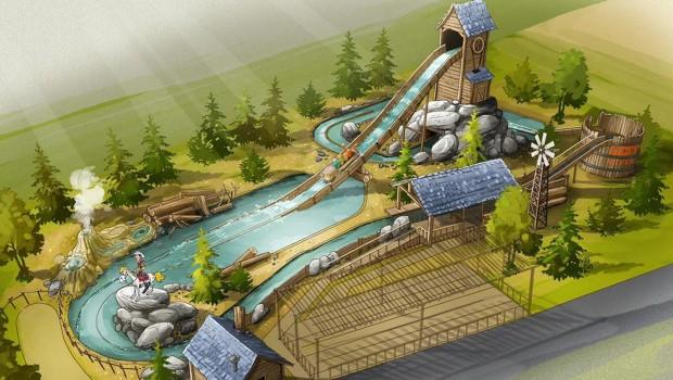 Parc Spirou Lucky Luke Wildwasserbahn Artwork
