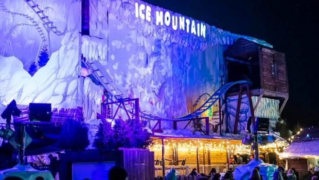Ice Mountain Achterbahn Beleuchtung Nacht