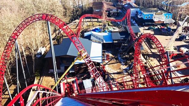 Freizeitpark Plohn Dynamite Achterbahn Lifthill Aufnahme