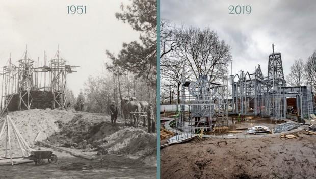 Efteling Dornröschen-Schloss und Die sechs Schwäne-Baustelle im Vergleich