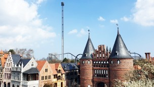Hansa-Park Highlander Free Fall Tower Blick EIngang
