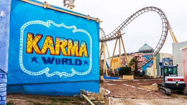Karma World Walibi Belgium Baustelle EIngang