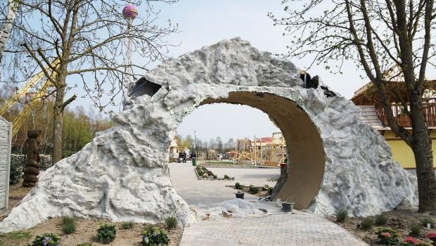 Freizeit-Land Geiselwind Eingang Drachenbucht Baustelle