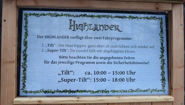 Hansa-Park Highlander Kippeffekt Tageszeiten