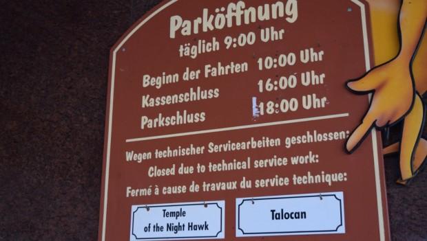 Über die Schließung wird am Eingang informiert. (Foto: Alexander Louis, Parkerlebnis.de)